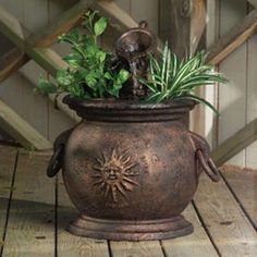 Little Giant .003 HP Copper Kettle Classical Fountain with Planter-566763 - The Home Depot