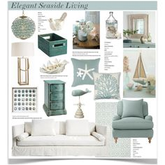 Elegant Seaside Living by jpetersen on Polyvore featuring interior, interiors, interior design, home, home decor, interior decorating, Serena & Lily, Stein World, Safavieh and Williams-Sonoma