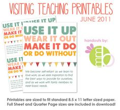 Free VT printables each month- and some cute ones for the kids' rooms
