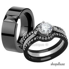 HIS & HERS 4 PIECE BLACK STAINLESS STEEL WEDDING ENGAGEMENT RING BAND SET #BlackIonPlated4pcSet