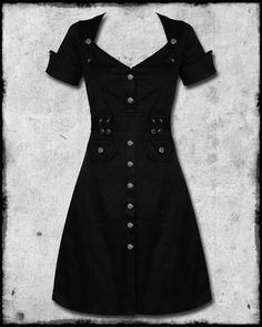 #Goth pin-up mini-dress at http://www.violentdelights.co.uk/jb-militarypinupdress-jawbreaker-black-steampunk-military-army-pinup-rockabilly-dress.html