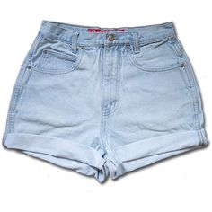 Vintage 90s Light Blue Wash High Waisted Rise Cut Offs Cuffed Rolled... ($28) ❤ liked on Polyvore
