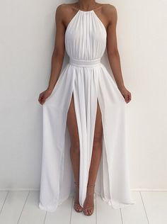 Buy Sexy Halter Long Maxi Slit Dress with Backless Maxi Dresses under US$ 43.99 only in SimpleDress.