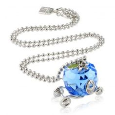 Disney Couture Cinderella Faceted Crystal Glass Carriage Necklace