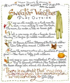 Fall words Susan Branch - LOVE her recipes and her art work!