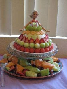 Great healthy choice for a #Barbie #Birthday #Cake loads of fruit - Watermelon Strawberries Melon and a Barbie Doll !
