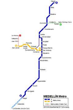 Metro de Medellín en 2010. Metro Map, Line Chart, Places To Go, Pictures, America, Travel, Woodland Forest, Santo Domingo, Caribbean
