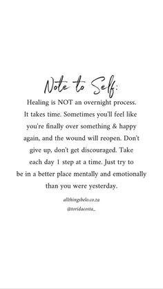 Healing is not an overnight process. Self Love Quotes, Healing, overnight, process Care Quotes, Words Quotes, Wise Words, Sayings, Quotes Quotes, Self Love Quotes, Quotes To Live By, Self Healing Quotes, Quotes About Healing