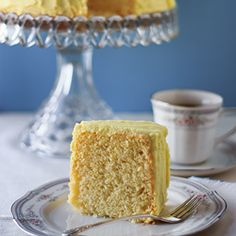 Lemon chiffon cake with lemon butter icing.  Adapted from my grandmother's 1950's cookbook.