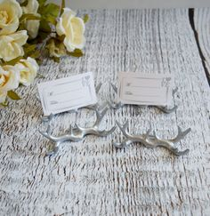 Silver Antlers Place Card Holders Rustic Wedding Set of 6