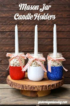 Patriotic Mason Jar Candle Holders, awesome for Memorial Day and 4th of July. Make them once and use for forever for decorating and entertaining.