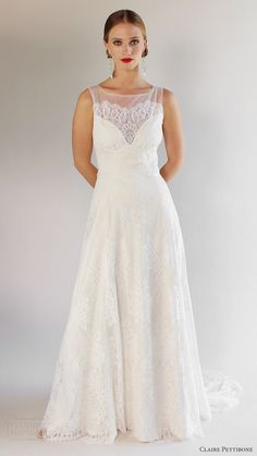 claire pettibone bridal spring 2017 sleeveless thick straps sweetheart illusion scoop aline lace wedding dress (la cienega) mv romantic