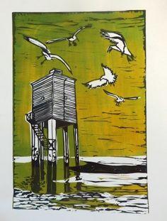 Burnham-on-sea light house  Three-phase lino cut print