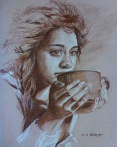 56822d3f75f morning coffee - original sepia charcoal and chalk drawing by portrait and  figurative artist Anita D