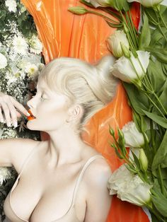 - There is an eccentricity to the otherwise ethereal Fashion Gone Rogue 'Simone' online editorial. A fun beauty shoot, it is filled with . Orange Lips, Orange Glitter, Lingerie Editorial, Editorial Fashion, Editorial Hair, Magenta, Gone Rogue, Floral Backdrop, Pink Eyeshadow