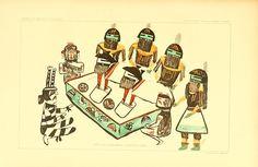 """Drawings of Hopi """"katchinas"""" by Kutcahanauu or..."""