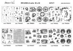 Riflessi di Carta serie 3 : 12 carte formato A3 per il trasferimento di pigmento con il liquido Deco-TRANSFER-Mania ml150 Store online: www.deoc-chic.it
