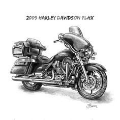 Pencil Sketch - Harley-Davidson / Biker Art From A Photo - On Sale - makes a great personalized gift