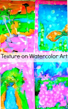 Make textured water color art with kids. Fun process art project