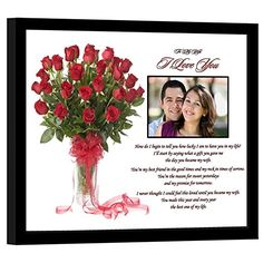 I Love You Gift for Wife Romantic Gift From Husband Birthday Christmas or Anniversary Add Photo >>> Check this awesome product by going to the link at the image. Romantic Anniversary, Anniversary Gifts For Husband, Wedding Anniversary Cards, Husband Birthday, Card Wedding, Rose Wedding, Marriage Anniversary, Sapphire Wedding, Best Gift For Wife