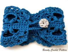 CROCHET LACE BRACELET WITH CROCHETED BUTTON