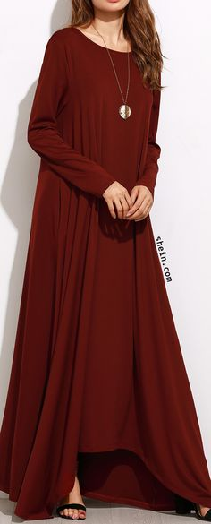 Burgundy Long Sleeve Shift Maxi Dress.