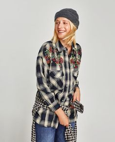 ZARA - WOMAN - CHECKED SHIRT WITH BEJEWELLED EMBROIDERY