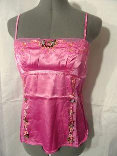 Nwt O'CASUAL Silk Sequin Cami tank top womens SM Pink empire Rose Fancy blouse #OCasuals #corsetbodicetanktopcamisoleblousesatin #casualcareerwesternclubweareveningbeach