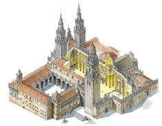 DIBUJANDO ARQUITECTURAS: Isi. Dibujos de ciudades del norte de Portugal y Galicia Cathedral Architecture, Ancient Greek Architecture, Classical Architecture, Historical Architecture, Ancient Architecture, Sustainable Architecture, Landscape Architecture, Buildings Artwork, Old Buildings