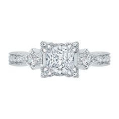 18K White Gold 1/4 Ct Diamond Carizza Semi Mount Engagement Ring to fit Princess Center - Shah Luxury #carizza