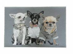 Tierische FußmattenHunde Designer Fußmatte / Küchenmatte: Chihuahua Trio