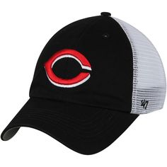Cincinnati Reds '47 Blue Hill Closer Flex Hat - Black/White