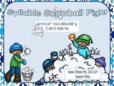 """Target syllable segmentation and winter vocabulary with this spin on the card game WAR.  Students """"throw snowballs"""" (vocabulary cards) and determine who has the word with the most syllables.  Watch out for same ranking cards--this means SNOWBALL WAR!  You might be interested in this item for Spring: Phonological Processing Activities for Spring  Other winter items you might like: Sled Dog Language Activities"""