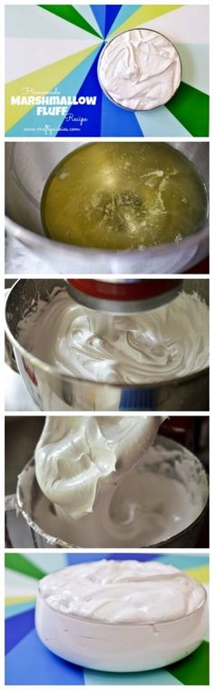 Homemade Marshmallow Fluff recipe. Surprisingly simple! Yum! Icing Recipe, Frosting Recipes, Cake Recipes, Sweet Recipes, Dessert Recipes, Cake Icing, Icing Frosting, Cupcake Cakes, Cupcakes