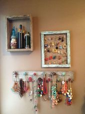 Muestras de pared de joyería de madera de granero mixto #FashionJewellery Tips  Mixed Barn Wood