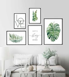 Gallery Wall Set, Let's Stay Home Sign, Botanical Print, Monstera . Room Wall Decor, Bedroom Wall, Canvas Wall Decor, White Wall Decor, Living Room Decor Frames, Dining Room Picture Wall, Bedroom Frames, Green Wall Decor, Gallery Wall Bedroom