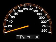 speedometer has moving part which moves left to right as speed increases. and right to left as speed decreases. and the speed is shown left being slower and right faster