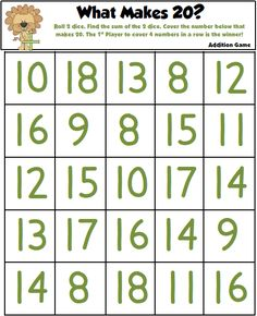 What Makes 20? - Addition Game Freebie!!