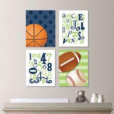 Baby Boy Nursery Art - Sports Art - Sports Nursery Art - Sports Nursery Football - Baseball Art - Sports Bedroom Decor - Blue Green (NS-618) by RhondavousDesigns2 on Etsy