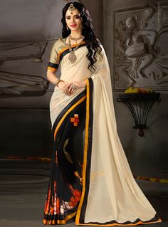 Beige Georgette Printed Saree With Blouse 114296