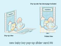 new baby boy pop up slider card kit on Craftsuprint designed by Michelle Johnson - this is a pop up slider csrd kit for a new baby boy. this kit has everything to make a pop up slider card with decoupage on the pop up parts.  - Now available for download!