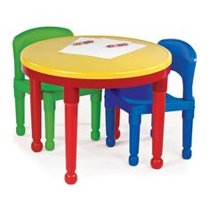 Tot Tutors Kids 2-in-1 Plastic LEGO®-Compatible Activity Table and 2 Chairs Set