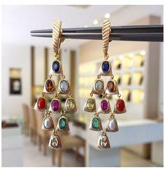 Jewelry Design Earrings, Gold Earrings Designs, Gold Jewellery Design, Gold Designs, Bridal Jewellery, Necklace Designs, Gemstone Jewelry, Traditional Earrings, Golden Jewelry