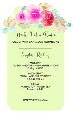 Faith & Provisions Week 4 Scriptures