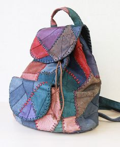 Colorful leather patchwork rucksack backpack