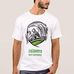 calavera surf company - logo shirt - tap, personalize, buy right now! Company Logo Shirts, Surf Companies, Fitness Models, Surfing, Logos, Casual, Sleeves, Mens Tops, T Shirt