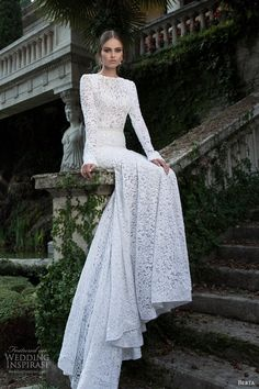 Lace long sleeve wedding dress - lace, Floor-length wedding dresses