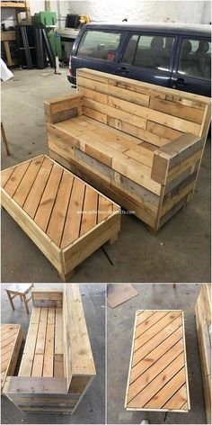 Over this image we are presenting you with the modern and much innovatively designed wood pallet bench and table structure. It is although simple but the rustic brown use over the pallet planks is bringing it closer with charming sort of impressions. Place it in your house without any delay!