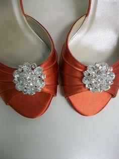 Tangerine Tango Shoes Wedding Bride Special Occasion Rhinestone Crystal Peep toe. $112.00, via Etsy.