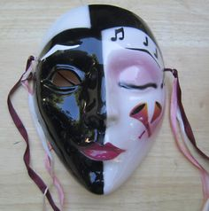 CLAY ART MASKS | Clay Art Mask American Vintage Ceramic Deco Lady Music |
